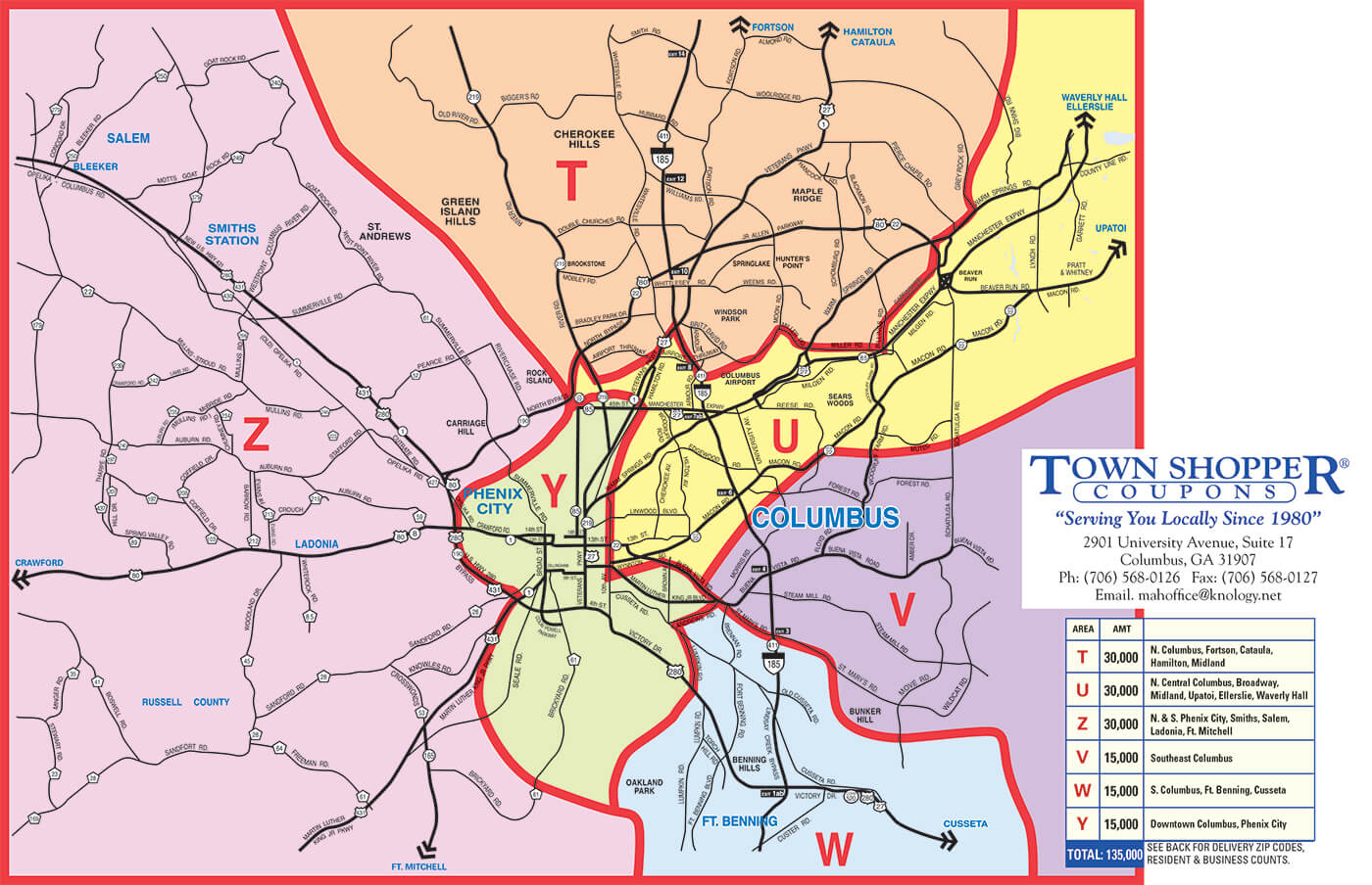 2017 Map Schedule for American Town Shopper Coupons
