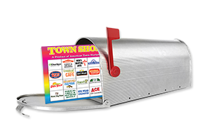 town shopper coupons booklet in mailbox